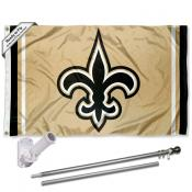 New Orleans Saints Old Gold Flag Pole and Bracket Kit