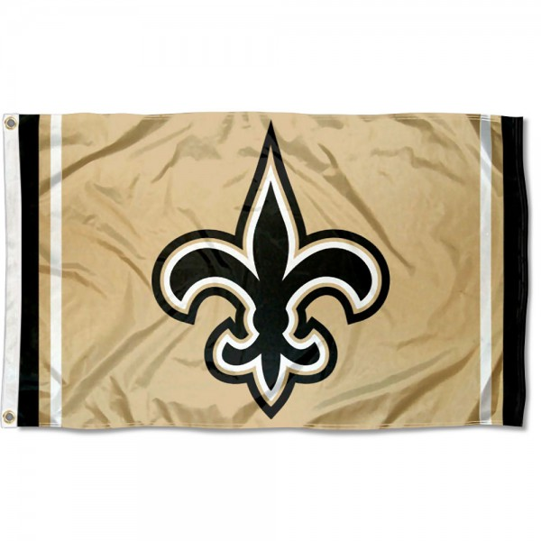 Our New Orleans Saints Old Gold Logo Flag is double sided, made of poly, 3'x5', has two metal grommets, indoor or outdoor, and four-stitched fly ends. These New Orleans Saints Old Gold Logo Flags are Officially Approved by the New Orleans Saints.