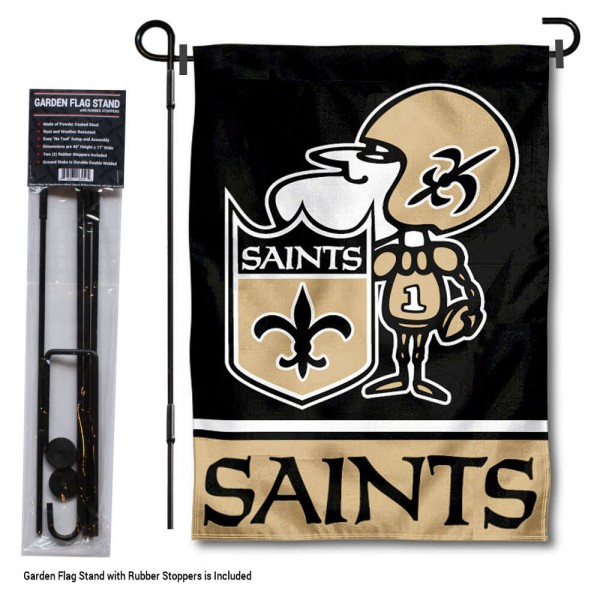 """New Orleans Saints Sir Saint Garden Banner and Flag Stand kit includes our 13""""x18"""" garden banner which is made of 2 ply poly with liner and has screen printed licensed logos. Also, a 40""""x17"""" inch garden flag stand is included so your New Orleans Saints Sir Saint Garden Banner and Flag Stand is ready to be displayed with no tools needed for setup. Fast Overnight Shipping is offered and the flag is Officially Licensed and Approved by the selected team."""