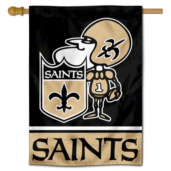New Orleans Saints Sir Saint Mascot Double Sided House Banner is screen printed with New Orleans Saints logos, is made of 2-ply 100% polyester, and is two sided and double sided. Our banners measure 28x40 inches and hang vertically with a top pole sleeve to insert your banner pole or flagpole.