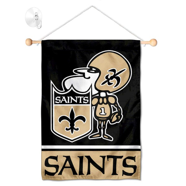 "New Orleans Saints Sir Saint Window and Wall Banner kit includes our 12.5""x18"" garden banner which is made of 2 ply poly with liner and has screen printed licensed logos. Also, a 17"" wide banner pole with suction cup is included so your New Orleans Saints Sir Saint Window and Wall Banner is ready to be displayed with no tools needed for setup. Fast Overnight Shipping is offered and the flag is Officially Licensed and Approved by the selected team."