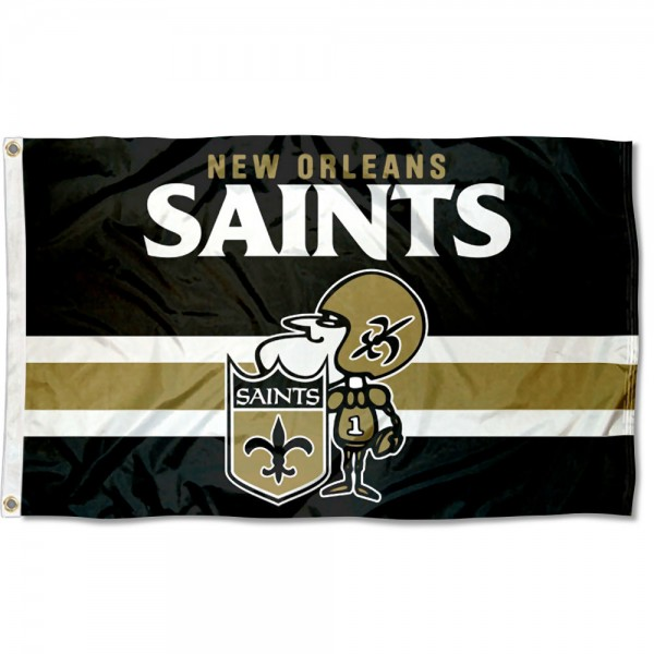 Our New Orleans Saints Throwback Retro Vintage Logo Flag is double sided, made of poly, 3'x5', has two metal grommets, indoor or outdoor, and four-stitched fly ends. These New Orleans Saints Throwback Retro Vintage Logo Flags are Officially Approved by the New Orleans Saints.