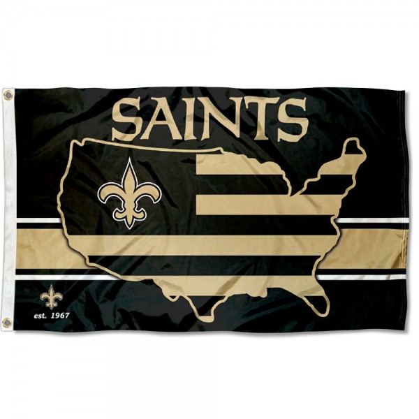 Our New Orleans Saints USA Country Flag is double sided, made of poly, 3'x5', has two metal grommets, indoor or outdoor, and four-stitched fly ends. These New Orleans Saints USA Country Flags are Officially Approved by the New Orleans Saints.
