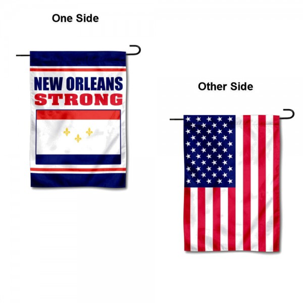 New Orleans Strong USA Garden Flag is 13x18 inches in size, is made of 1-layer 300d polyester, screen printed logos and lettering, and is viewable on both sides. Available same day shipping, our New Orleans Strong USA Garden Flag is a great addition to your decorative garden flag selections.