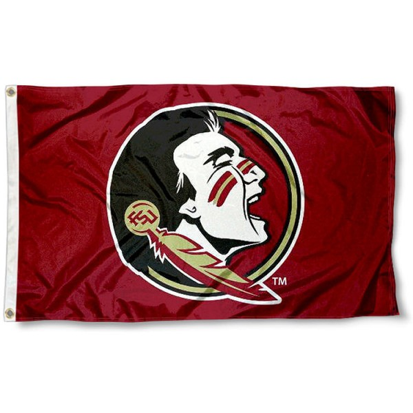 New Seminole Logo Flag for FSU measures 3'x5', is made of 100% poly, has quadruple stitched sewing, two metal grommets, and has double sided Florida State University logos. Our New Seminole Logo Flag for FSU is officially licensed by the selected university and the NCAA