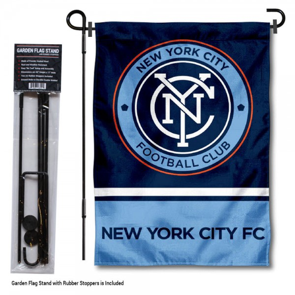 """New York City FC Garden Flag and Flagpole Stand kit includes our 12.5""""x18"""" garden banner which is made of 2 ply poly with liner and has screen printed licensed logos. Also, a 40""""x17"""" inch garden flag stand is included so your New York City FC Garden Flag and Flagpole Stand is ready to be displayed with no tools needed for setup. Fast Overnight Shipping is offered and the flag is Officially Licensed and Approved by the selected team."""