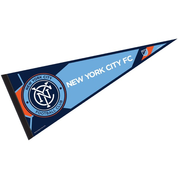 New York City FC Pennant is our Full Size MLS soccer team pennant which measures 12x30 inches, is made of felt, and is single sided screen printed. Our New York City FC Pennant is perfect for showing your MLS team allegiance in any room of the house and is MLS licensed.