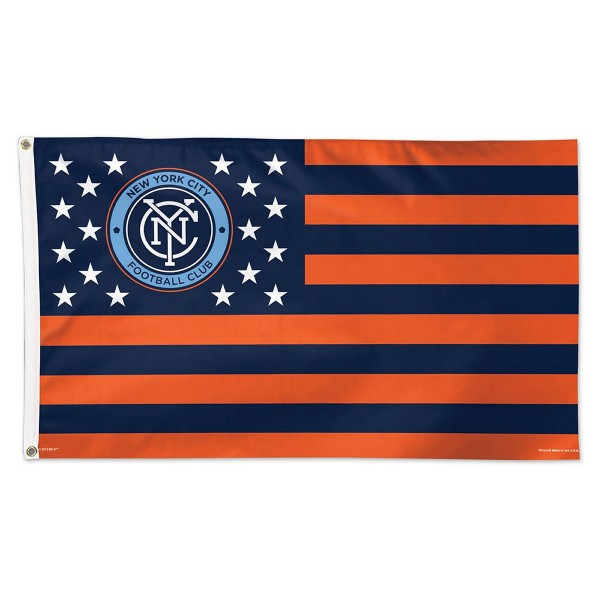 New York City FC Stars and Stripes MLS Flag is screen printed, made of one-ply polyester, quad stitched flyends, and measures 3x5 feet. Our New York City FC Stars and Stripes MLS Flag is approved by MLS.
