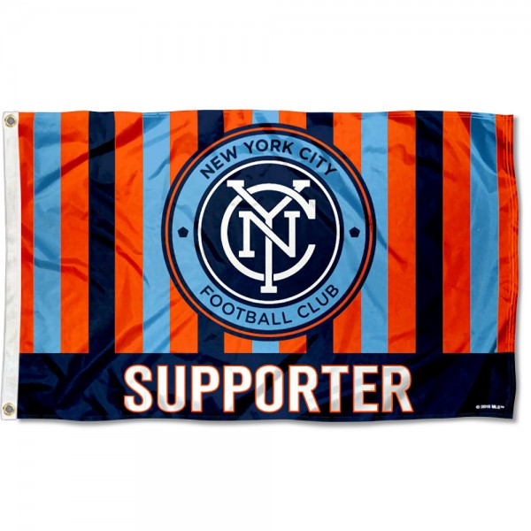 New York City FC Supporter 3x5 Foot Logo Flag measures 3x5 feet and offers quadruple stitched flyends. New York City FC Supporter 3x5 Foot Logo Flag is made of polyester, has two metal grommets, and is viewable from both sides with the opposite side being a reverse image. This New York City FC Supporter 3x5 Foot Logo Flag is Officially Licensed and MLS Approved.