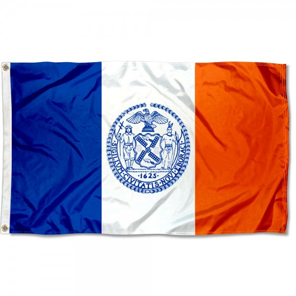 New York City Flag measures 3'x5', is made of 100% poly, has quadruple stitched sewing, two metal grommets, and has double sided New York City logos.