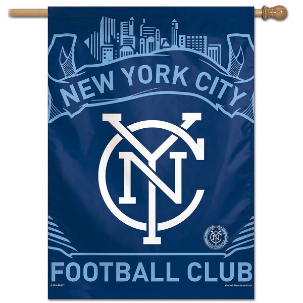 New York City Football Club House Flag measures 28x40 inches in size, is constructed of polyester, has screen printed logos, express shipping, and is viewable on both sides. Our New York City Football Club House Flag provides a top pole sleeve to hang vertically and is a MLS genuine product.