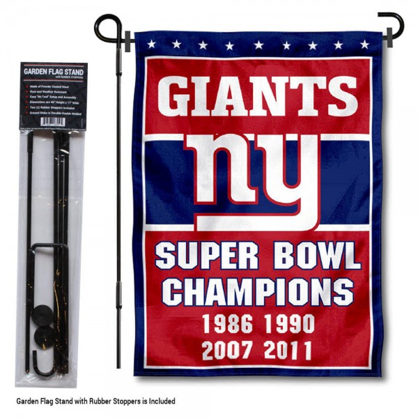 "New York Giants 4 Time Champions Garden Banner and Flag Stand kit includes our 13""x18"" garden banner which is made of 2 ply poly with liner and has screen printed licensed logos. Also, a 40""x17"" inch garden flag stand is included so your New York Giants 4 Time Champions Garden Banner and Flag Stand is ready to be displayed with no tools needed for setup. Fast Overnight Shipping is offered and the flag is Officially Licensed and Approved by the selected team."