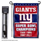 New York Giants 4 Time Champions Garden Banner and Flag Stand