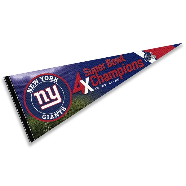 This New York Giants 4 Time Super Bowl Champions Pennant Flag is 12x30 inches, is made of premium felt blends, has a pennant stick sleeve, and the team logos are single sided screen printed. Our New York Giants 4 Time Super Bowl Champions Pennant Flag is NFL Officially Licensed.