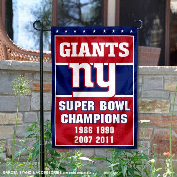 New York Giants 4 Time Super Bowl Champs Garden Flag is 12.5x18 inches in size, is made of 2-ply polyester, and has two sided screen printed logos and lettering. Available with Express Next Day Ship, our New York Giants 4 Time Super Bowl Champs Garden Flag is NFL Officially Licensed and is double sided.