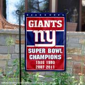 New York Giants 4 Time Super Bowl Champs Garden Flag