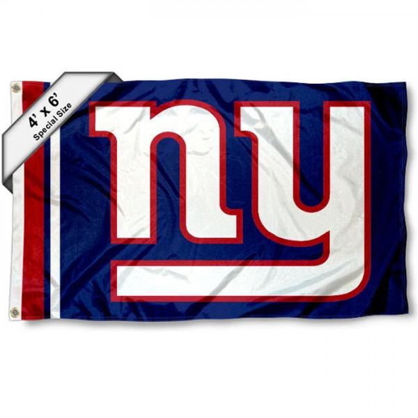 New York Giants 4x6 Flag measures a large 4x6 feet, is made polyester, has quadruple stitched flyends, two metal grommets, and offers screen printed NFL New York Giants logos and insignias. Our New York Giants 4x6 Foot Flag is NFL Officially Licensed and New York Giants approved.