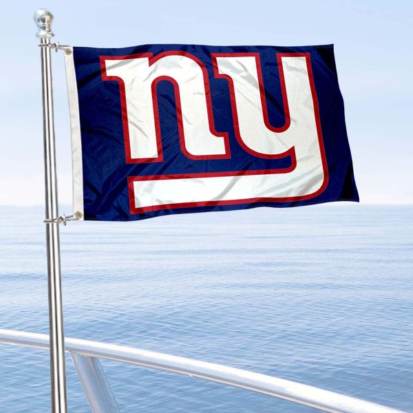 "Our New York Giants Boat and Nautical Flag is 12""x18"", made of three-ply poly, has a solid header with two metal grommets, and is double sided. This Boat and Nautical Flag for New York Giants is Officially Licensed by the NFL and can also be used as a motorcycle flag, boat flag, golf cart flag, or recreational flag."