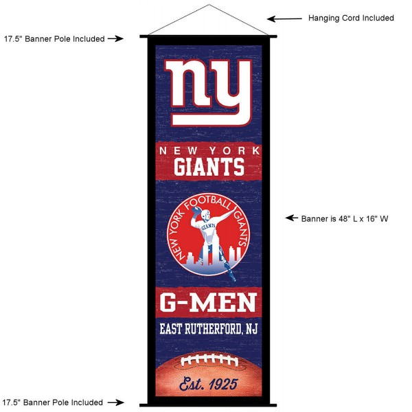 "This ""ready to hang"" New York Giants Decor and Banner is made of polyester material, measures a large 17.5"" x 48"", offers screen printed athletic logos, and includes both top and bottom 3/4"" diameter plastic banner poles and hanging cord. Our New York Giants D�cor and Banner is Officially Licensed by the selected team and NFL."