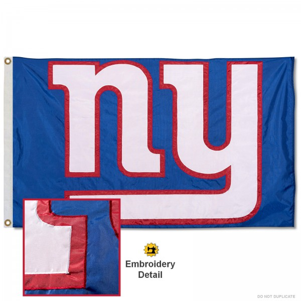 This New York Giants Embroidered Nylon Flag is double sided, made of nylon, 3'x5', has two metal grommets, indoor or outdoor, and four-stitched fly ends. These New York Giants Embroidered Nylon Flags are Officially Approved the New York Giants and NFL.