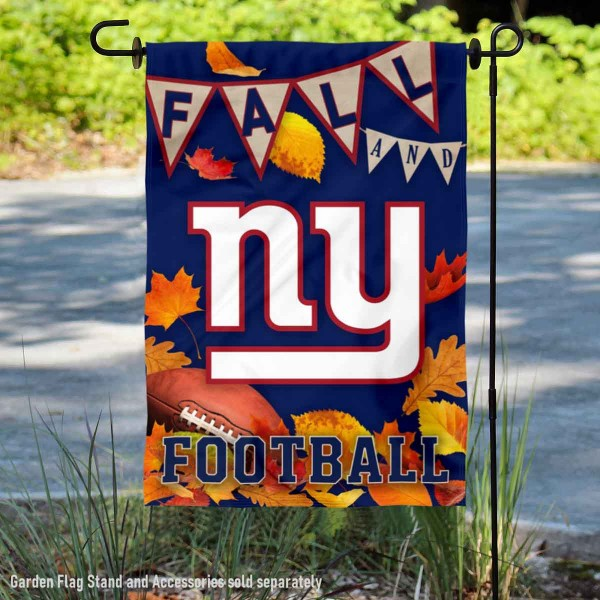 New York Giants Fall Football Leaves Decorative Double Sided Garden Flag is 12.5x18 inches in size, is made of 2-ply polyester, and has two sided screen printed logos and lettering. Available with Express Next Day Ship, our New York Giants Fall Football Leaves Decorative Double Sided Garden Flag is NFL Officially Licensed and is double sided.