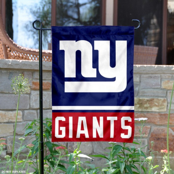 New York Giants Garden Flag is 12.5x18 inches in size, is made of 2-ply polyester, and has two sided screen printed logos and lettering. Available with Express Next Day Ship, our New York Giants Garden Flag is NFL Officially Licensed and is double sided.