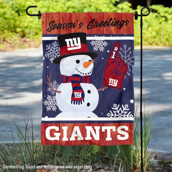 New York Giants Holiday Winter Snow Double Sided Garden Flag is 12.5x18 inches in size, is made of 2-ply polyester, and has two sided screen printed logos and lettering. Available with Express Next Day Ship, our New York Giants Holiday Winter Snow Double Sided Garden Flag is NFL Officially Licensed and is double sided.