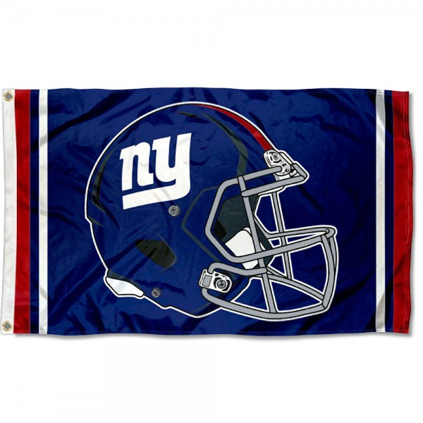 Our New York Giants New Helmet Flag is two sided, made of poly, 3'x5', Overnight Shipping, has two metal grommets, indoor or outdoor, and four-stitched fly ends. These New York Giants New Helmet Flags are Officially Approved by the New York Giants.
