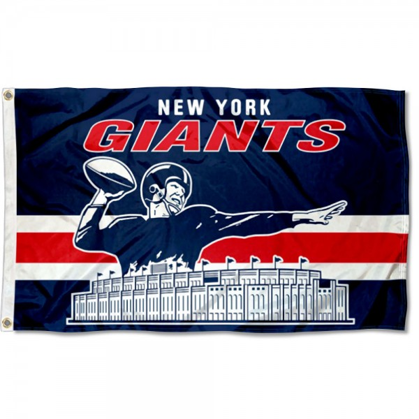 Our New York Giants Throwback Retro Vintage Logo Flag is double sided, made of poly, 3'x5', has two metal grommets, indoor or outdoor, and four-stitched fly ends. These New York Giants Throwback Retro Vintage Logo Flags are Officially Approved by the New York Giants.