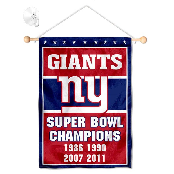 "New York Giants Time 4 Champions Window and Wall Banner kit includes our 12.5""x18"" garden banner which is made of 2 ply poly with liner and has screen printed licensed logos. Also, a 17"" wide banner pole with suction cup is included so your New York Giants Time 4 Champions Window and Wall Banner is ready to be displayed with no tools needed for setup. Fast Overnight Shipping is offered and the flag is Officially Licensed and Approved by the selected team."