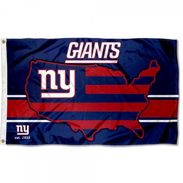 Our New York Giants USA Country Flag is double sided, made of poly, 3'x5', has two metal grommets, indoor or outdoor, and four-stitched fly ends. These New York Giants USA Country Flags are Officially Approved by the New York Giants.
