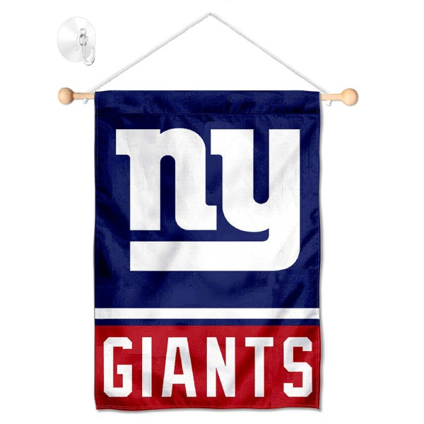 "New York Giants Window and Wall Banner kit includes our 12.5""x18"" garden banner which is made of 2 ply poly with liner and has screen printed licensed logos. Also, a 17"" wide banner pole with suction cup is included so your New York Giants Window and Wall Banner is ready to be displayed with no tools needed for setup. Fast Overnight Shipping is offered and the flag is Officially Licensed and Approved by the selected team."
