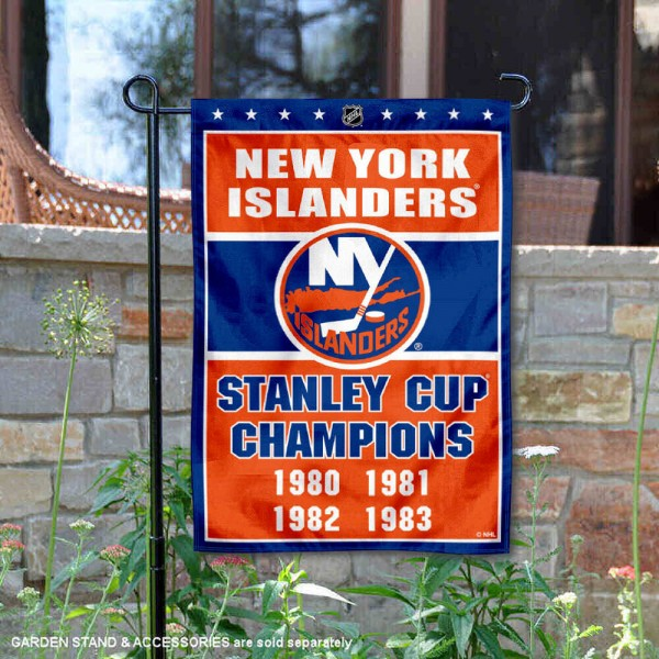 New York Islanders 4 Time Stanley Cup Champions Garden Flag is 12.5x18 inches in size, is made of 2-ply polyester, and has two sided screen printed logos and lettering. Available with Express Next Day Ship, our New York Islanders 4 Time Stanley Cup Champions Garden Flag is NHL Officially Licensed and is double sided.