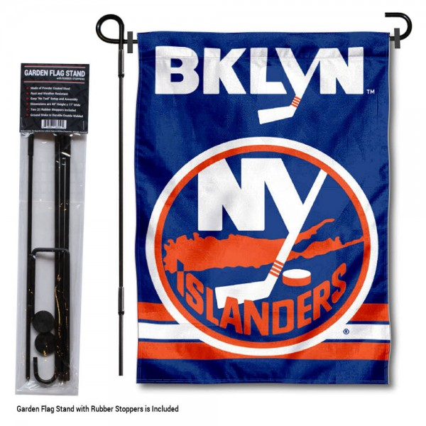 """New York Islanders Garden Flag and Flagpole Stand kit includes our 12.5""""x18"""" garden banner which is made of 2 ply poly with liner and has screen printed licensed logos. Also, a 40""""x17"""" inch garden flag stand is included so your New York Islanders Garden Flag and Flagpole Stand is ready to be displayed with no tools needed for setup. Fast Overnight Shipping is offered and the flag is Officially Licensed and Approved by the selected team."""