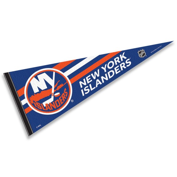 New York Islanders NHL Pennant is our full size 12x30 inch pennant which is made of felt, is single sided screen printed, and is perfect for decorating at home or office. Display your NHL hockey allegiance with this NHL Genuine Merchandise item.