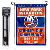New York Islanders Stanley Cup Champions Garden Banner and Flagpole Holder Stand