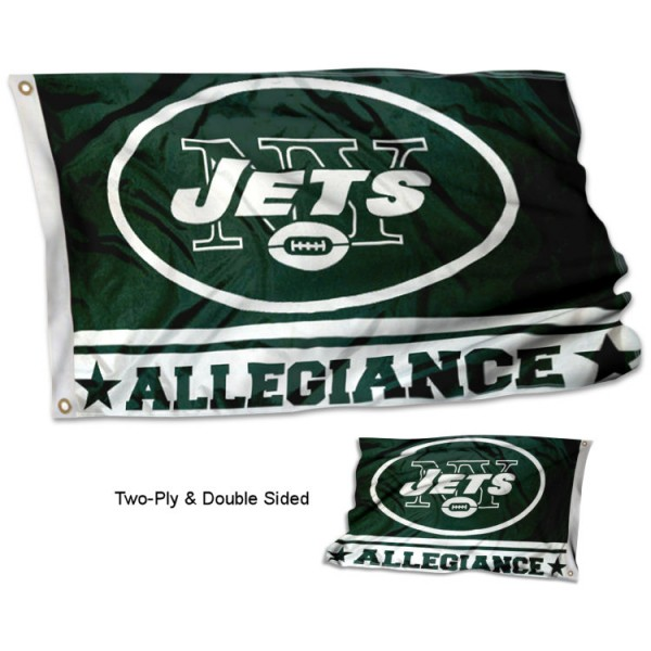New York Jets Allegiance Flag measures 3'x5', is made of 2-ply double sided polyester with liner, has quadruple stitched sewing, two metal grommets, and has two sided team logos. Our New York Jets Allegiance Flag is officially licensed by the selected team and the NFL and is available with overnight express shipping.