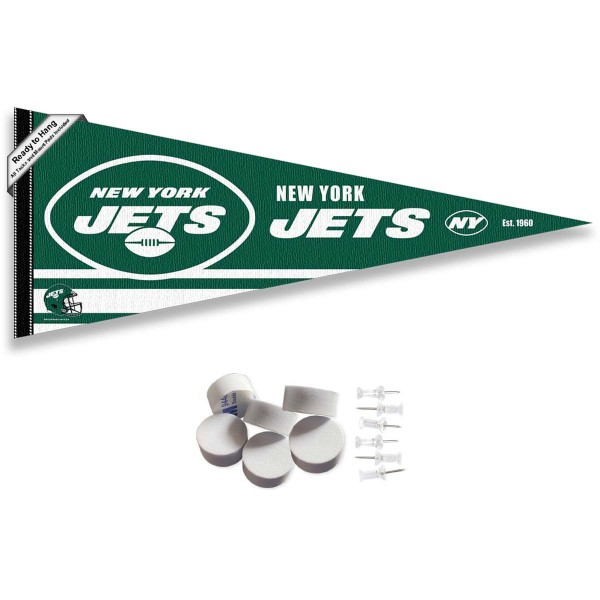 This New York Jets Banner Pennant with Tack Wall Pads is 12x30 inches, is made of premium felt blends, has a pennant stick sleeve, and the team logos are single sided screen printed. Our New York Jets Banner Pennant Flag is NFL Officially Licensed and include our 6 pack of wall adhesive pads and tacks.