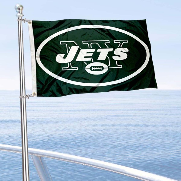 "Our New York Jets Boat and Nautical Flag is 12""x18"", made of three-ply poly, has a solid header with two metal grommets, and is double sided. This Boat and Nautical Flag for New York Jets is Officially Licensed by the NFL and can also be used as a motorcycle flag, boat flag, golf cart flag, or recreational flag."