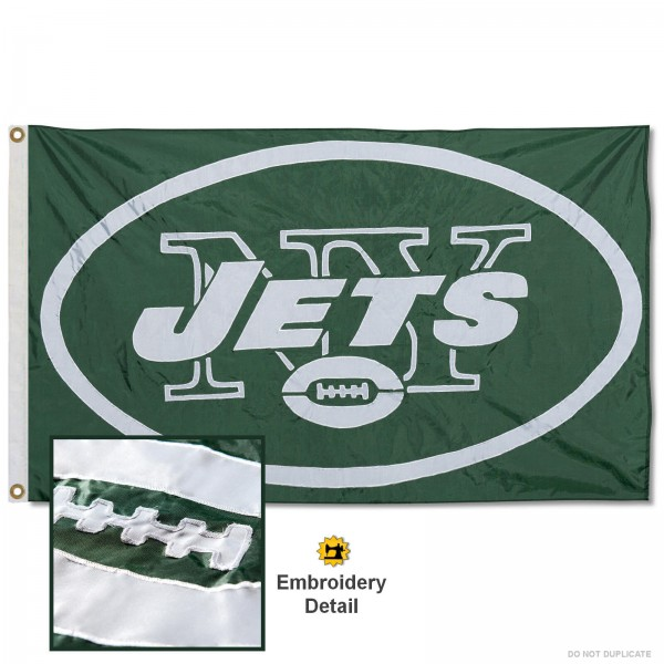 This New York Jets Embroidered Nylon Flag is double sided, made of nylon, 3'x5', has two metal grommets, indoor or outdoor, and four-stitched fly ends. These New York Jets Embroidered Nylon Flags are Officially Approved the New York Jets and NFL.