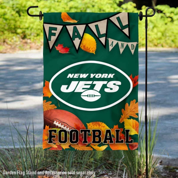 New York Jets Fall Football Leaves Decorative Double Sided Garden Flag is 12.5x18 inches in size, is made of 2-ply polyester, and has two sided screen printed logos and lettering. Available with Express Next Day Ship, our New York Jets Fall Football Leaves Decorative Double Sided Garden Flag is NFL Officially Licensed and is double sided.
