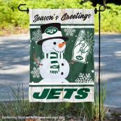 New York Jets Holiday Winter Snow Double Sided Garden Flag