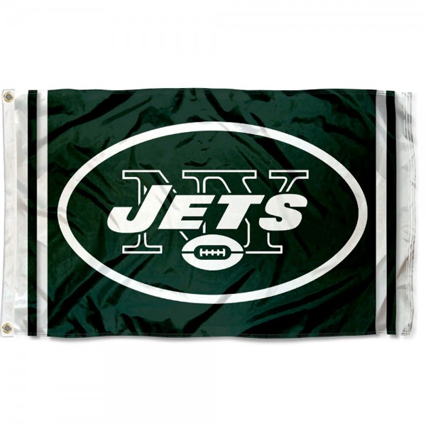 Our New York Jets Logo Flag is double sided, made of poly, 3'x5', has two metal grommets, indoor or outdoor, and four-stitched fly ends. These New York Jets Logo Flags are Officially Approved by the New York Jets.
