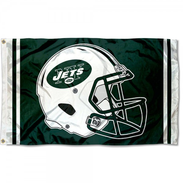 Our New York Jets New Helmet Flag is two sided, made of poly, 3'x5', Overnight Shipping, has two metal grommets, indoor or outdoor, and four-stitched fly ends. These New York Jets New Helmet Flags are Officially Approved by the New York Jets.