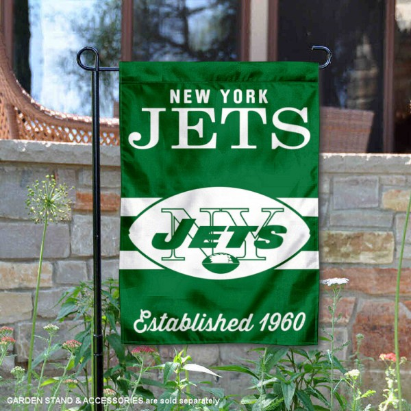 New York Jets Throwback Logo Double Sided Garden Flag Flag is 12.5x18 inches in size, is made of 2-ply polyester, and has two sided screen printed logos and lettering. Available with Express Next Day Ship, our New York Jets Throwback Logo Double Sided Garden Flag Flag is NFL Officially Licensed and is double sided.
