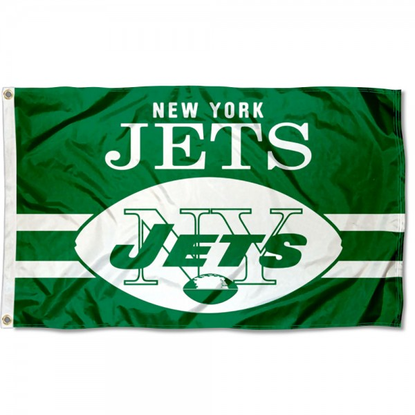 Our New York Jets Throwback Retro Vintage Logo Flag is double sided, made of poly, 3'x5', has two metal grommets, indoor or outdoor, and four-stitched fly ends. These New York Jets Throwback Retro Vintage Logo Flags are Officially Approved by the New York Jets.