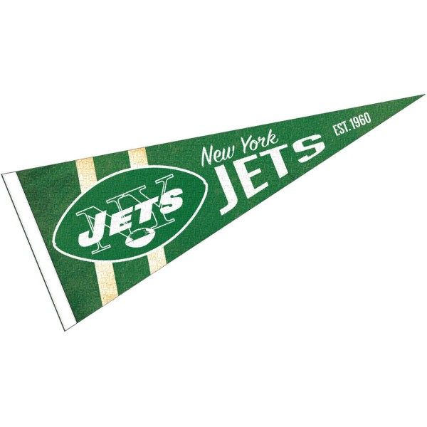 This New York Jets Throwback Vintage Retro Pennant is 12x30 inches, is made of premium felt blends, has a pennant stick sleeve, and the team logos are single sided screen printed. Our New York Jets Throwback Vintage Retro Pennant is NFL Officially Licensed.