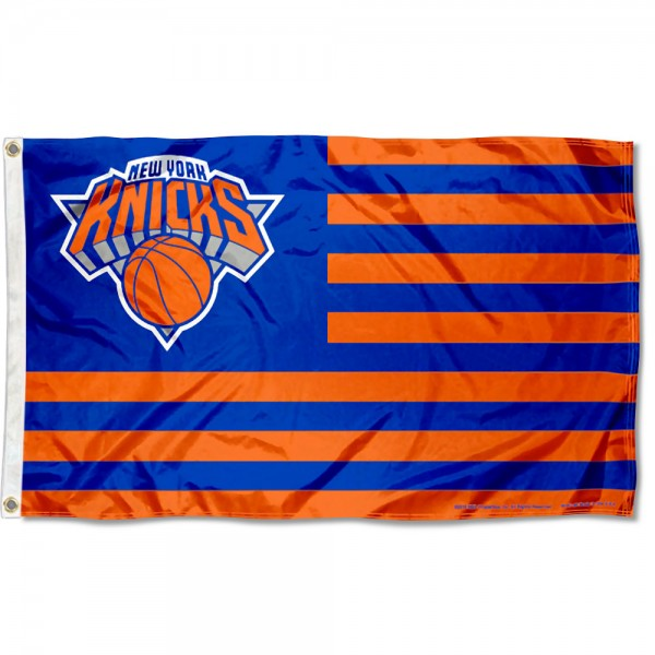 New York Knicks Americana Stripes Nation Flag measures 3x5 feet, is made of polyester, offers quad-stitched flyends, has two metal grommets, and is viewable from both sides with a reverse image on the opposite side. Our New York Knicks Americana Stripes Nation Flag is Genuine NBA Merchandise.