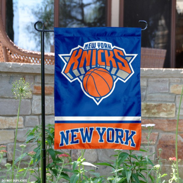 New York Knicks Garden Flag is 12.5x18 inches in size, is made of 2-ply polyester, and has two sided screen printed logos and lettering. Available with Express Next Day Shipping, our New York Knicks Garden Flag is NBA Genuine Merchandise and is double sided.