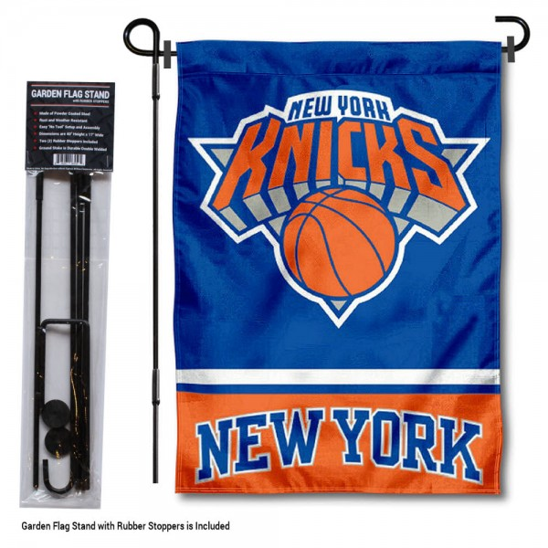 """New York Knicks Garden Flag and Flagpole Stand kit includes our 12.5""""x18"""" garden banner which is made of 2 ply poly with liner and has screen printed licensed logos. Also, a 40""""x17"""" inch garden flag stand is included so your New York Knicks Garden Flag and Flagpole Stand is ready to be displayed with no tools needed for setup. Fast Overnight Shipping is offered and the flag is Officially Licensed and Approved by the selected team."""